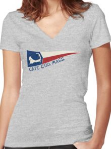 CAPE COD, MASS. Women's Fitted V-Neck T-Shirt