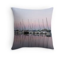 Marina in Pink - Peaceful Boat Reflections Throw Pillow