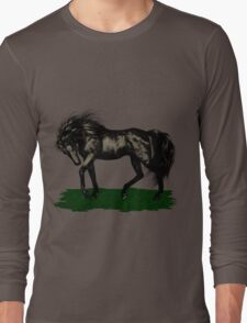 Ebony .. black stallion Long Sleeve T-Shirt