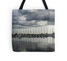 Yachts and Sailboats - the Silvery Calmness of Grays Tote Bag