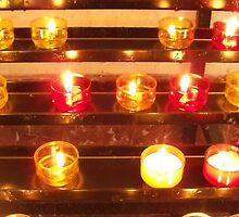 Candles in the basilica by daffodil