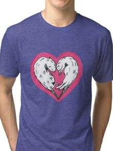 Sweet otters curled up into a love heart Tri-blend T-Shirt