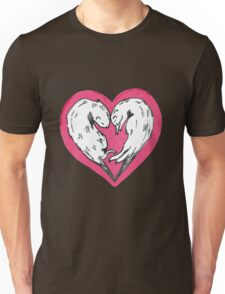 Sweet otters curled up into a love heart Unisex T-Shirt