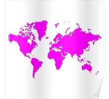 World With No Borders - magenta Poster