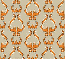 Cat damask in brown by Yael Kisel