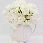 White Peonies In White Jug  by Sandra Foster