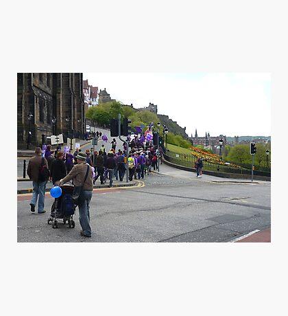 Purple Protest Edinburgh Photographic Print