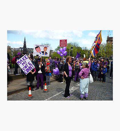 Purple People Edinburgh Rally: New Traffic Signals Ahead Photographic Print