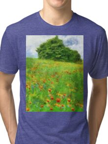 Hillside With Flowers And Trees Tri-blend T-Shirt