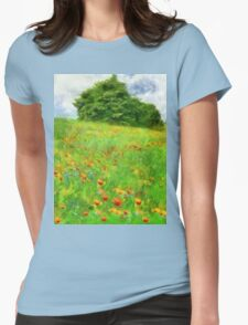 Hillside With Flowers And Trees Womens Fitted T-Shirt