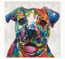 Colorful Dog Pit Bull Art - Happy - By Sharon Cummings Kids Tee