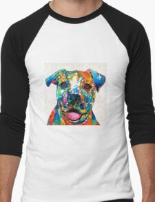 Colorful Dog Pit Bull Art - Happy - By Sharon Cummings Men's Baseball ¾ T-Shirt