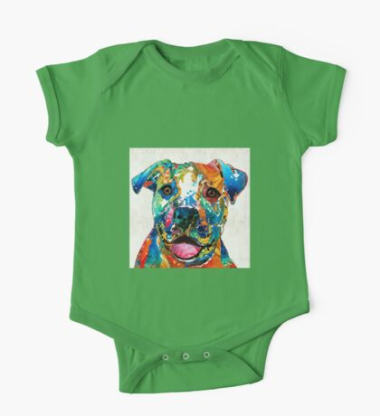 Colorful Dog Pit Bull Art - Happy - By Sharon Cummings One Piece - Short Sleeve
