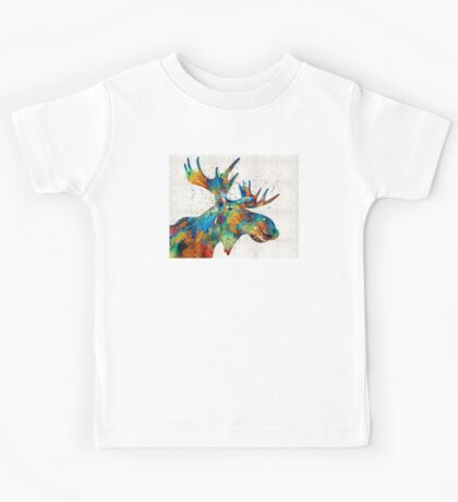 Colorful Moose Art - Confetti - By Sharon Cummings Kids Tee