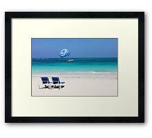 Dive boat in Curacao, Dutch Antilles Framed Print
