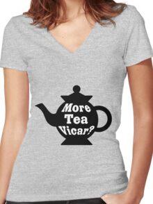 Teapot - More tea Vicar? - Black and White Women's Fitted V-Neck T-Shirt