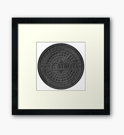 Manhole Covers NYC Black Framed Print