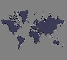 World Splatter Map - ntrue gray by Mark McKinney