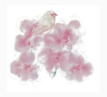 Orchid flowers with bird Kids Tee