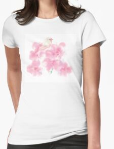 Orchid flowers with bird Womens Fitted T-Shirt
