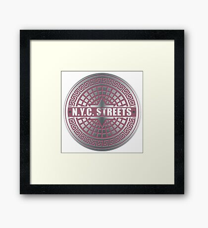 Manhole Covers NYC Pink Framed Print