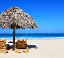 Sun umbrella with chair longue in the Bahamas by Atanas Bozhikov NASKO