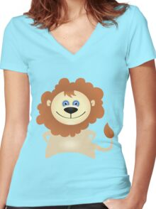 Creative cute lion Women's Fitted V-Neck T-Shirt