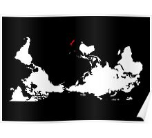 Upside Down World Map New Zealand Poster