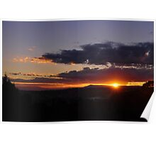 Brilliant Sunrise over mountains Poster