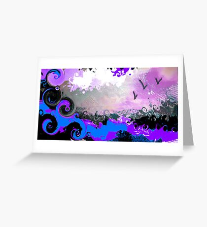 waves and birds Greeting Card