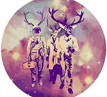 Groovy astronaut with deer antlers by funnyshirts
