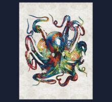 Colorful Octopus Art by Sharon Cummings One Piece - Long Sleeve