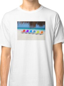 Rainbow chairs in Orient Bay, Sint Maartin, Caribbean Sea Classic T-Shirt