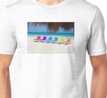 Rainbow chairs in Orient Bay, Sint Maartin, Caribbean Sea Unisex T-Shirt