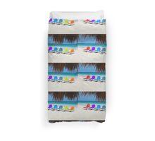 Rainbow chairs in Orient Bay, Sint Maartin, Caribbean Sea Duvet Cover
