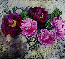 Peonies in a vase. Pastel painting by kira-culufin