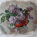 Lilac In Red Bowl by Alla Melnichenko