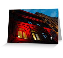 City Night Walks - the Red Facade Greeting Card