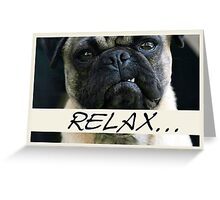 Pug Dog, Relax, Humor Greeting Card