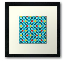 Blue Circles Pattern - Red and Yellow Accents Framed Print