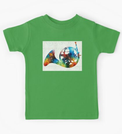 Colorful French Horn - Color Fusion By Sharon Cummings Kids Tee