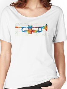 Colorful Trumpet Art Color Fusion By Sharon Cummings  Women's Relaxed Fit T-Shirt