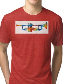 Colorful Trumpet Art Color Fusion By Sharon Cummings  Tri-blend T-Shirt