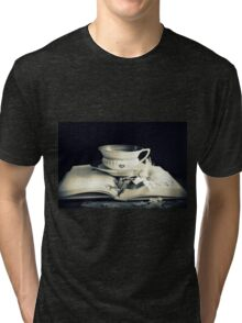 Tea,  Magnolia And Book Tri-blend T-Shirt