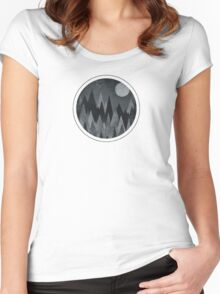 Dark Mystery Abstract Geometric Triangle Peak Wood's (black & white) Women's Fitted Scoop T-Shirt