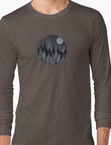 Dark Mystery Abstract Geometric Triangle Peak Wood's (black & white) Long Sleeve T-Shirt