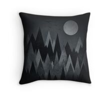 Dark Mystery Abstract Geometric Triangle Peak Wood's (black & white) Throw Pillow