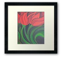 Red Tulip Diptych (Left) Framed Print