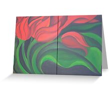 Red Tulip Diptych Greeting Card