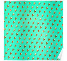 Cool and Trendy Pizza Pattern in Super Acid green / turquoise / blue Poster